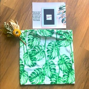 CB2 Monstera leaf plant pillow cover